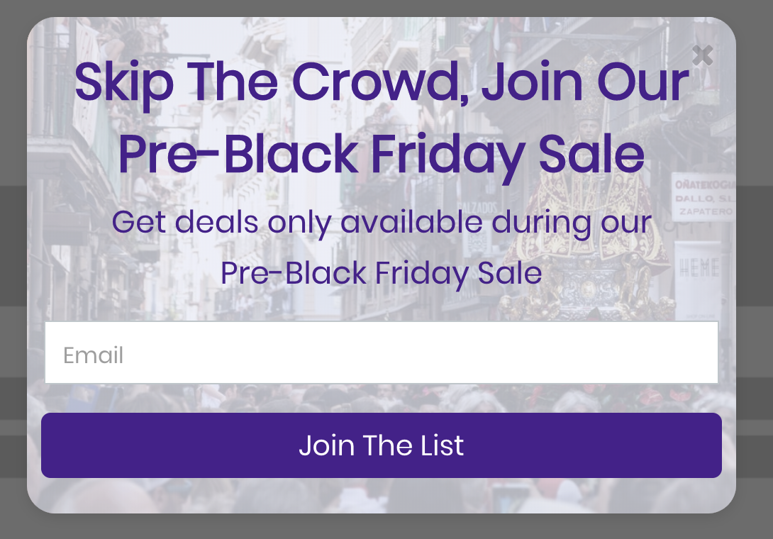 pre-black friday sale popup